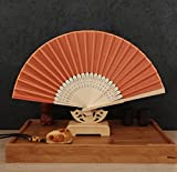 Orange 50Pcs/Lot Handmade Chinese Classic Multi Colors Party Wedding Dancing Folding Lace Hand Fan Party Favor