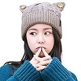 SIGGI Cat Ears Beanie Pussy Cat Hat 100% Wool Ladies Winter Fleece Beanie Hats Warm Knitted Skull Beanies Cap Beige