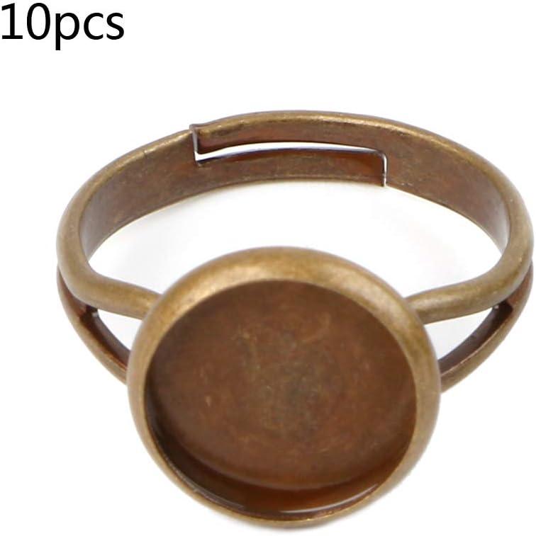 A VIccoo 10 pi/èces Bruts danneau de Bricolage avec Lunette Digne pour 10 Fabrication de Bijoux en cabochon de Verre 12mm 10 mm