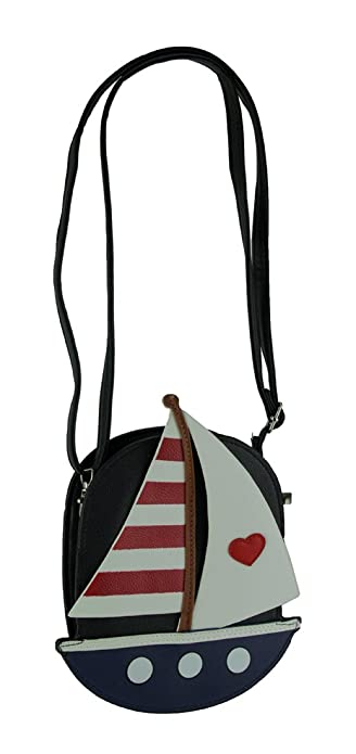Sleepyville Critters Red White And Blue Sailboat Crossbody Purse