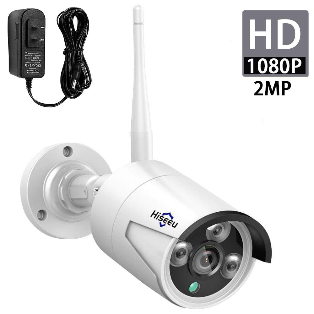 Hiseeu 2MP 1080P Security Camera,Waterproof Outdoor Indoor 3.6mm Lens IP Cut Day Night Vision with Power Adapter Compatible with Hiseeu 8ch Camera System White
