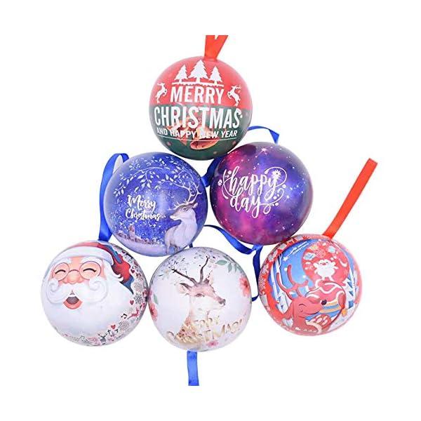 Amasawa 6 Pezzi Palle di Natale, Decorazioni per Alberi di Natale, Decorazioni Natalizie,Candy Can, 2,7 Pollici / 7 cm Tema dell'albero di Natale 1 spesavip