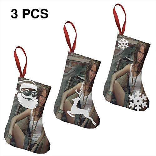 クリスマスの日の靴下 (ソックス3個)クリスマスデコレーションソックス 俳優Jessica Alba クリスマス、ハロウィン 家庭用、ショッピングモール用、お祝いの雰囲気を加える 人気を高める、販売、プロモーション、年次式