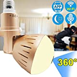 Wireless Camera 360 Panoramic IP WIFI 1080P LED Bulb Fisheye Phone APP Remote Hidden Surveillance Security Systems with Night Vision Motion Monitor for Home Baby Pet Two Way Audio Detection JingStyle