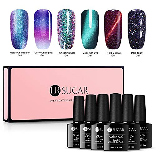 UR SUGAR Gel Nail Polish Set,Cat Eye Gel,Color Changing Gel,Starry Glitter Gel, Chameleon Gel, Magnetic Jade Gel 6 Bottles Soak Off Nail Art UV Gel ()