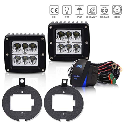 QUAKEWORLD DOT 2PCS 3x3 Inch 18W Pods Cube Led Driving Fog Lights + Universal Tow Trailer Hitch Mounting Brackets W/Rocker Switch DT Connector For 2005-2015 Toyota Tacoma 4WD/2WD