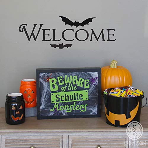 Susie85Electra Halloween Shadow Box Beware of The Your Last Name Monsters Large Size Insert Your Own Items 11 X 14 Lime Green Design]()