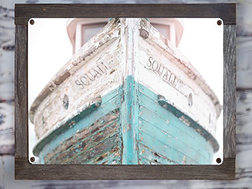 (Metal Ship Art - Teal Nautical Ship, Vintage Beachy, Cottage Decor, Sea, Rustic Wall Art, Navy Fixer Upper, Bathroom, Rustic Wall Art, Teal, Blue, Barnwood Frame)