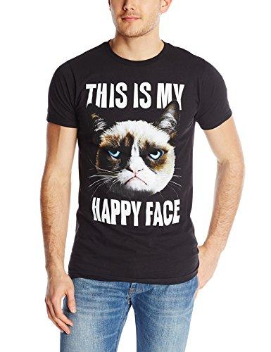 T-Line Men's Happy Face Grumpy Cat Graphic T-Shirt, Black, (Happy Face T-shirt)