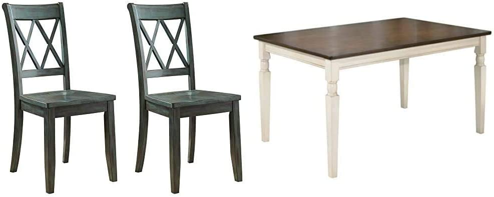 Ashley Furniture Signature Design - Mestler Dining Room Side Chair - Wood Seat - Set of 2 - Blue/Green & Whitesburg Dining Room Table, Brown/Cottage White
