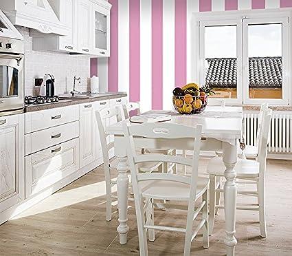 Carta Da Parati Shabby Chic.Giallobus Wallpaper Adhesive Shabby Chic Pink Striped