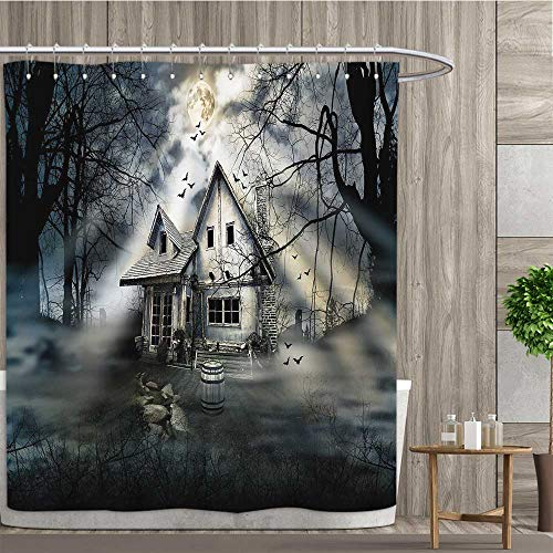 Anshesix Halloween,Shower Curtains,Haunted House with Dark Horror Atmosphere Cloudy Mysterious Frightening,Satin Fabric Bathroom Washable,Grey White Black,Size:W48 x L72 inch
