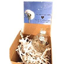 2018 Wedding Wishes Glass Globe Keepsake Ornament. Real Dandelion Seeds and Wish charm. Card and Gift Box included. Bridal Shower Newlyweds Brides and Grooms.