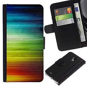 """Samsung Galaxy S4 Mini i9190 / i9195 (Not For Galaxy S4) , la tarjeta de Crédito Slots PU Funda de cuero Monedero caso cubierta de piel ("""" Rainbow Stripes Colorful Waves Lgbt Rights"""")"""