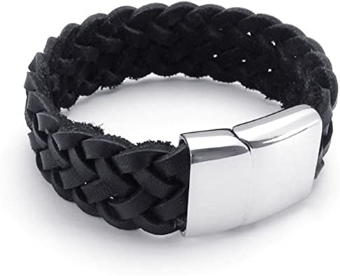 TEMEGO Jewelry Mens Leather Braided Bracelet,Stainless Steel Clasp,Black-7.5,8,9