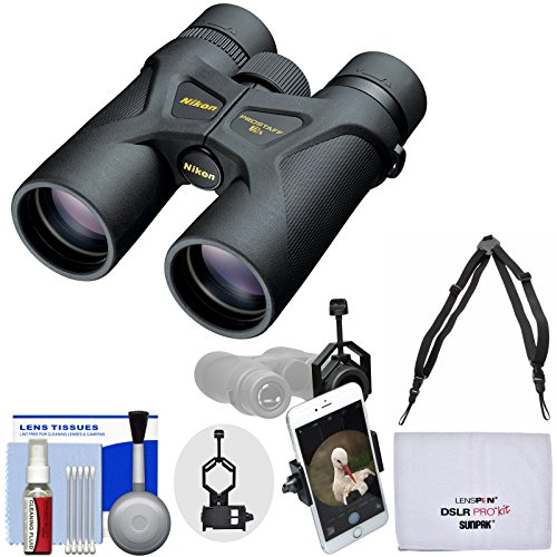 Nikon Prostaff 3S 8x42 Waterproof/Fogproof Binoculars with Case + Harness + Smartphone Adapter + Cleaning Kit