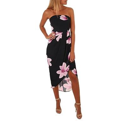 Longra Sommerkleider Damen Blumen Maxikleider Schöne Bandeaukleider Off- Shoulder-Kleider mit Rüschen Wickelkleid Frauen 93e6ecf950