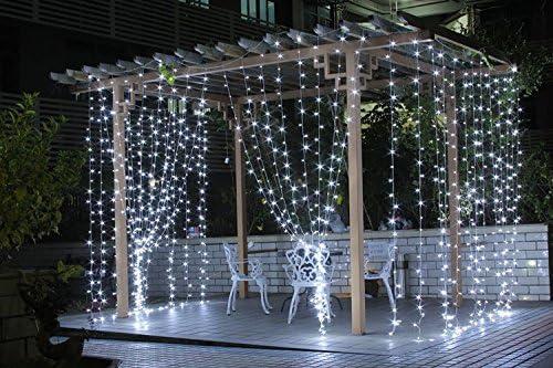 BLOOMWIN 256LED 6Mx1M Guirnaldas Cortinas LED Luces con 8 Modelos de Iluminación hadas cadena para Navidad, balcón, ventana, pared, boda, fiesta,blanco frio: Amazon.es: Iluminación