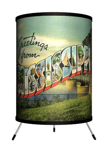 Lamp-In-A-Box TRI-TRV-MISSI Travel Mississippi Postcard Tripod Lamp, 8