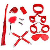 Unihoh Leather Handcuffs Set with Comfortable Wrist and Ankle Cuffs Fits Almost Any Size-10 Pcs (red)