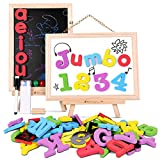 GameNote Jumbo Magnetic Letters and Numbers Learning Toy,119 Pieces Foam Refrigerator ABC Magnets for Kids Improve Spelling Skills with Unique Double-Side Wooden Board(Red Vowel)