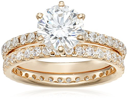 Gold Ring Round Pave (Yellow-Gold Plated Sterling Silver Round Ring Set made with Swarovski Zirconia (1 Carat Center Stone), Size 6)