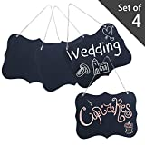 Set of 4 Rustic Style Twine Hanging Black Wood Chalk Message Boards / Decorative Chalkboard Wedding Signs