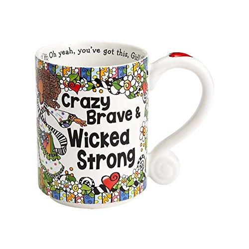Enesco 4056466 Crazy Brave Stoneware Mug, 14 oz, - Identify Your Face Shape