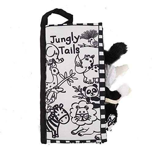 Early Education Sensory Animal Tail Cloth Book Toy, Infant Baby Cartoon Animal Soft Tail Brain Development Activity Cloth Book(Black White Jungle)
