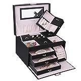 Jewelry Storage Jewelry Box Casket Bracelet Necklace Pendant Storage Case Cabinet Armoire Jewelry Chest Drawers (Black)