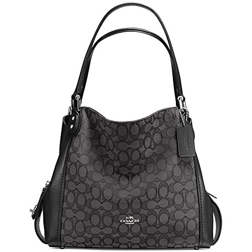 Coach Women's Coach Women's Edie 31 Sig Shoulder Bag, Silver/Black