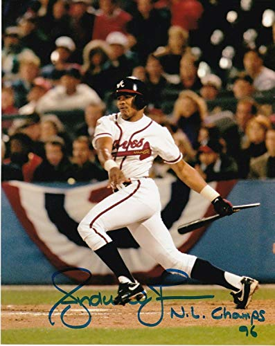 Andruw Jones Atlanta Braves Nl Champs 1996 Action Autographed Signed 8x10 - Certified Signature