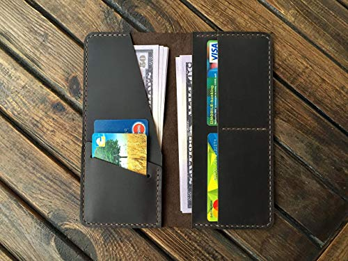 Handcrafted Leather Wallet for Mens & Womens - Practical Long Travel Card Holder - Western Cowboy Vintage Clutch - Genuine Distressed Full Grain Organizer