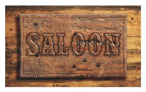 (Lunarable Western Doormat, Sign of Saloon on a Wooden Wall Restaurant Carving Art Country West Style, Decorative Polyester Floor Mat with Non-Skid Backing, 30