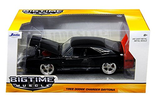 New 1:24 W/B BIG TIME MUSCLE - BLACK 1969 DODGE CHARGER DAYTONA Diecast Model Car By Jada Toys