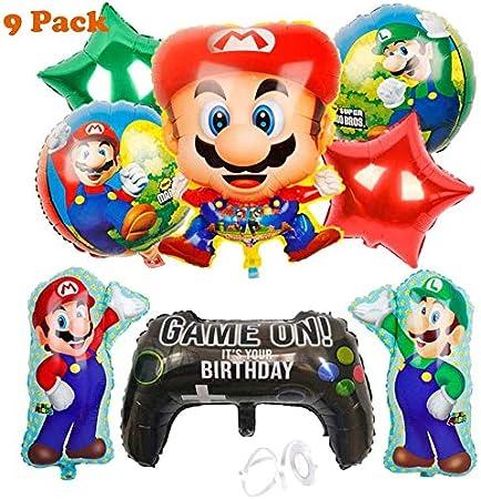 Cumpleaños Mario Bros - 9 Piezas Globo Mario Bros Helium Foil Balloons Mario Bros Globos de Fiesta Aluminio Globo Suministros de Fiesta: Amazon.es: Hogar