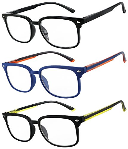 Reading Glasses Set of 3 Fashion Spring Hinge Readers Great Value Glasses for Reading Men and Women