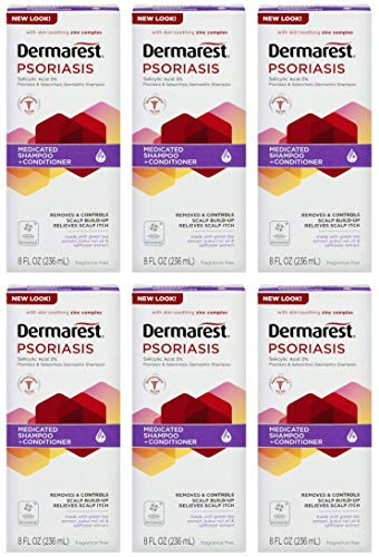 Dermarest Psoriasis Medicated Shampoo Plus Conditioner | Removes and Controls Scalp Build-up | 8 oz | Pack of 6