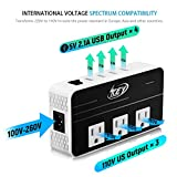 Key Power 200-Watt Step Down 220V to 110V Voltage Converter & International Travel Adapter – [Use for USA appliances Overseas in Europe, Australia, UK, Ireland, Mexico and More]