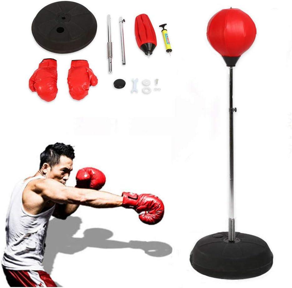 Pera adultos Juego de boxeo con guantes y soporte ajustable altura 120-150 cm rojo