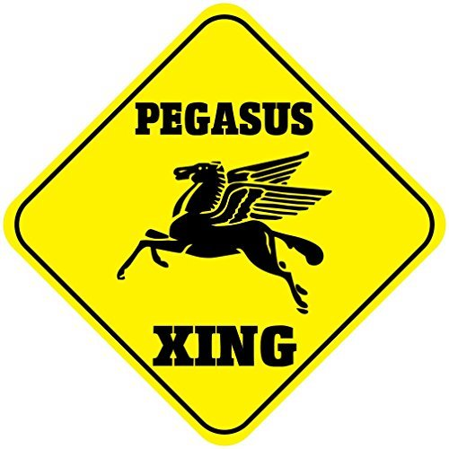 SheilaNelly Pegasus Crossing Funny Metal Aluminum Sign