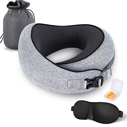 MZYSKJ Travel Pillow 100% Pure Memory Foam Pillow, Comfortable & Breathable Cover, Ergonomic Design Ultra Soft Full Neck Chin Support Adjustable, 3D Contoured Sleep Mask, Earplugs, Standard, Grey