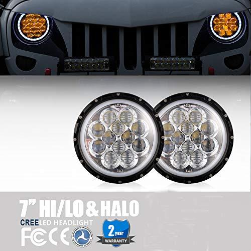 Jeep Wrangler JK Headlights 7 inch Amber Spider Halo DRL Front Lights for 1997-2018 Jeep Wrangler TJ JK