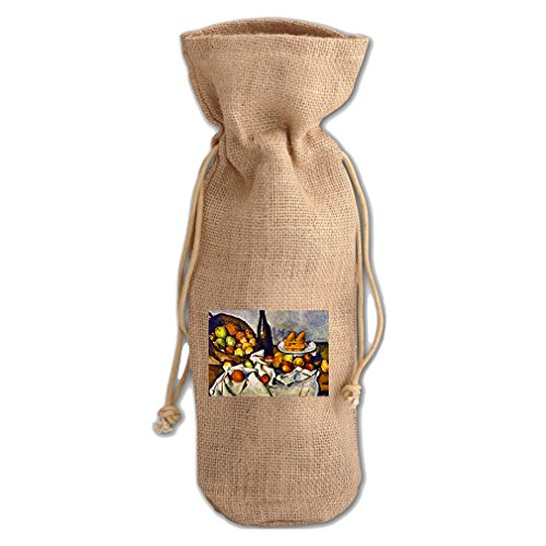 Apple Basket (Cezanne) Jute Burlap Burlap Wine Drawstring Bag Wine Sack (Cezanne Basket Of Apples)