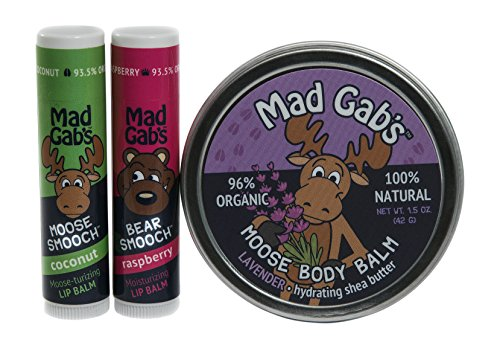 Mad Gab's Moose 3-Piece Smooch Sticks and Lavender Body Balm Gift Set made in New England