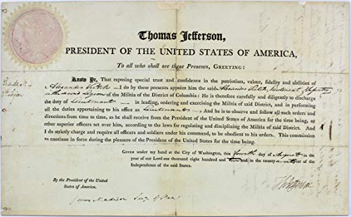 Thomas Jefferson & James Madison Signed 9.25X15 1802 Military Appointment BAS ()