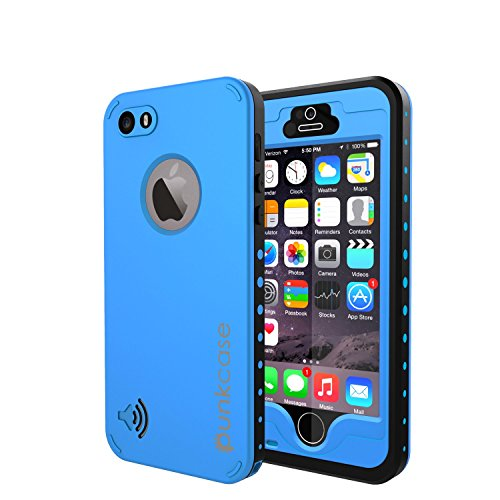 iPhone 5S/5 Waterproof Case, PUNKcase StudStar Light Blue Apple iPhone 5S/5 Waterproof Case W/ Attached Screen Protector