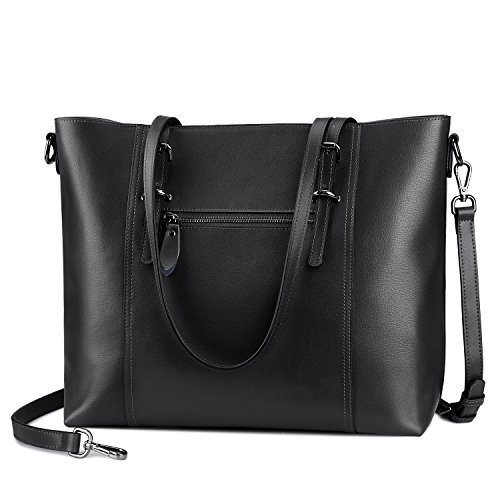 S-ZONE Leather Laptop Bag for Women Fits up to 15.6 inch Business Tote Shoulder Bag Purse (Black) by S-ZONE (Image #3)