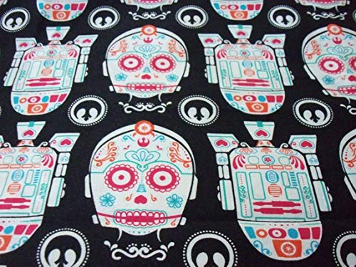 Star Wars Fabric Day Of The Dead CP30 R2D2 Sugar Skulls New By The Fat Quarter -