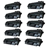 HOTCOLOR 10 Pack(Black) CE505A 05A Premium Compatible Toner For CE505A Use For Laserjet P2035 Laserjet P2035N Laserjet P2055dn Laserjet P2055X Printer